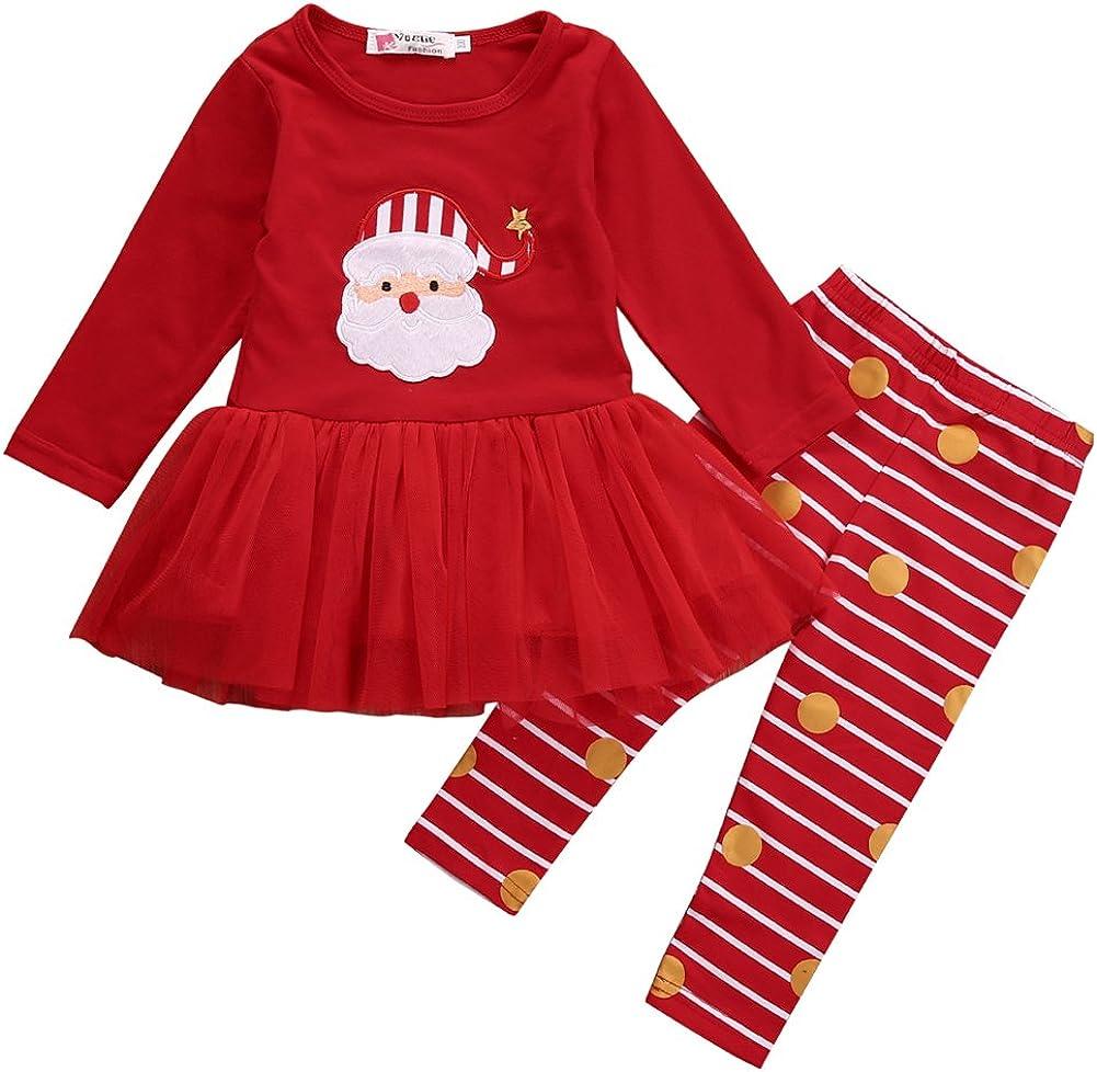 Loalirando Completo Natale Abiti Bambina Neonata a Manica Lunga Stampa Babbo Natale in Tulle Bambina Rosso+Pantaloni a Strisce