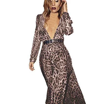 7ba6983457 Fiaya Women s Sexy Deep V-Neck Leopard Print Split Hem Long Sleeve Party  Wrap Maxi