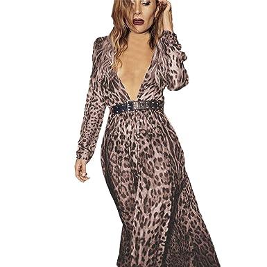NRUTUP Womens Sexy V-Neck Leopard Printed Split Hem Long Sleeve Party Wrap Maxi  Dress 940450b63