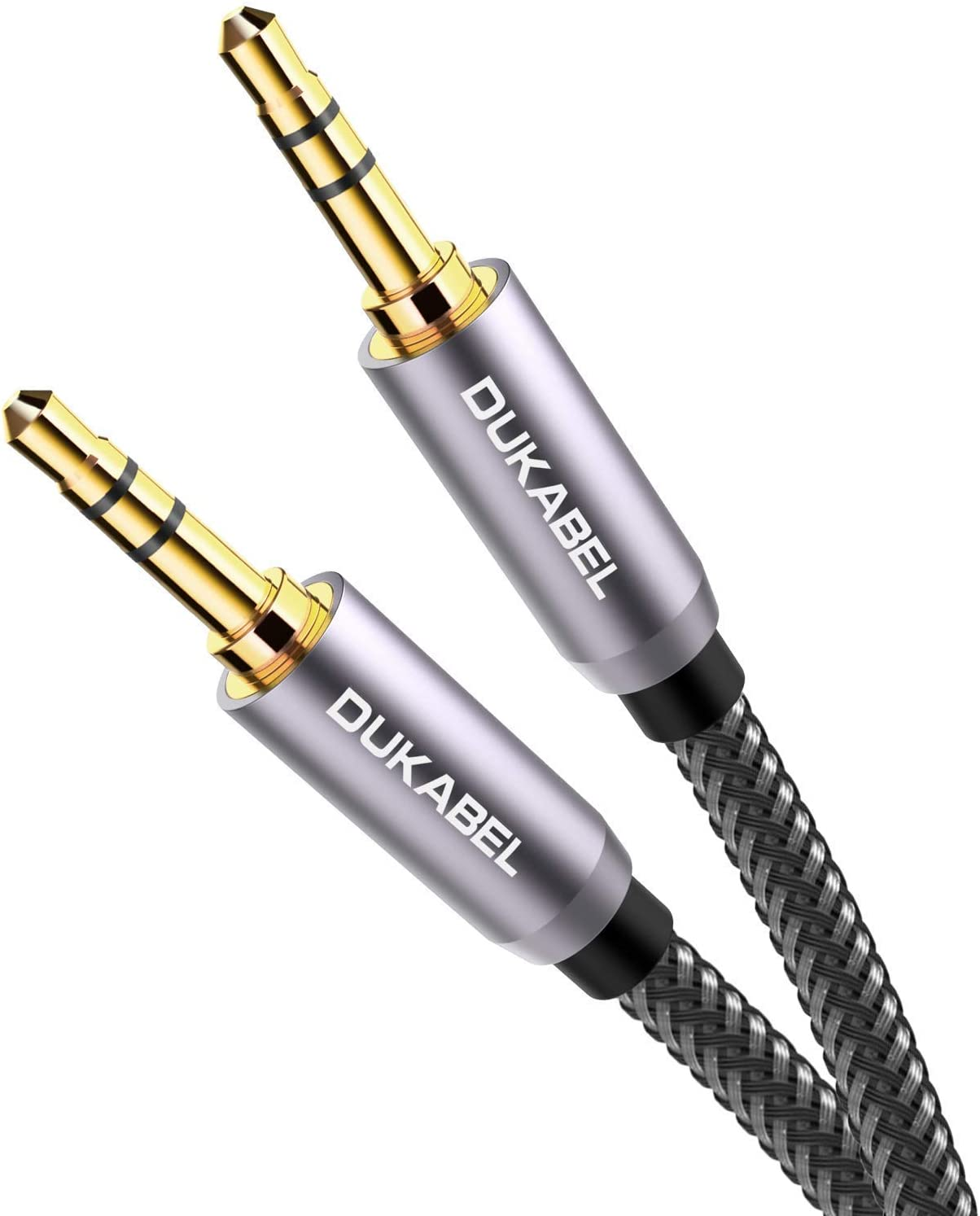 DuKabel Top Series Long Audio Cable 26 Feet (8 Meters) - Shielded Aux Cable Cord 3.5mm Male to Male Stereo Auxiliary Cable Cord/Crystal-Nylon Braided / 24K Gold Plated / 99.99% 4N OFC Conductor