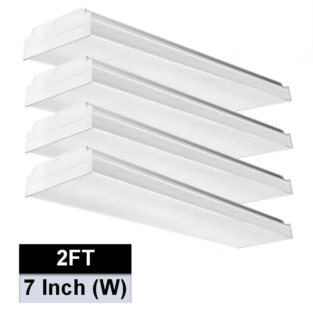 AntLux 2FT LED Wraparound Flushmount Light, 20W LED Garage Shop Lights, 2400LM, 4000K Neutral White, Low Profile Commercial Linear Ceiling Lighting Fixture, Pack of 4