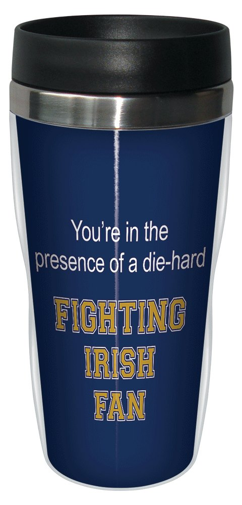 Tree-Free Greetings sg24524 Fighting Irish College Football Fan Sip 'N Go Stainless Steel Lined Travel Tumbler, 16-Ounce