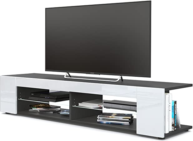 Mesa para TV Lowboard Movie, Cuerpo en Negro Mate/Frentes en Blanco de Alto Brillo: Vladon: Amazon.es: Hogar