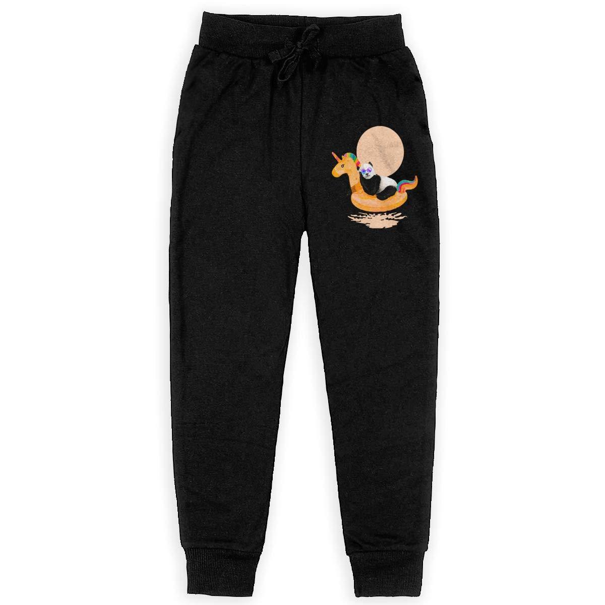 Boys Sweatpants Panda Unicorn Joggers Sport Training Pants Trousers Black