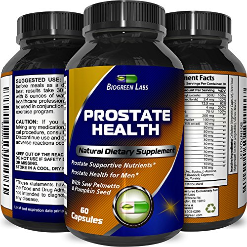 Pure and Potent Prostate Support Supplement - Natural Pills for Men - Enhance Libido - Boost Immune System - Pure Capsules - Zinc - Vitamin B6 - Pumpkin Seed Extract - Saw Palmetto - By Biogreen Labs