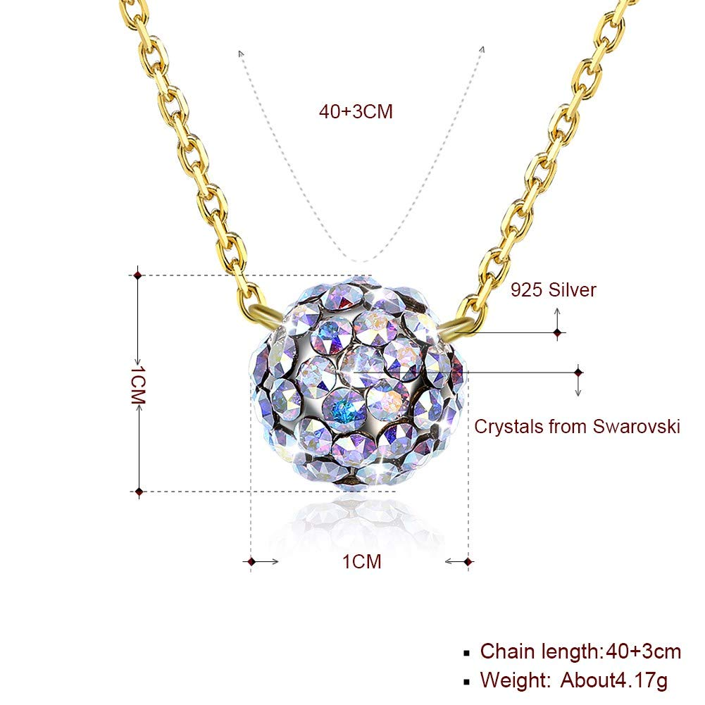 myazs8580 LEKANI Crystals from Swarovski S925 Sterling Silver Crystal Ball Necklace