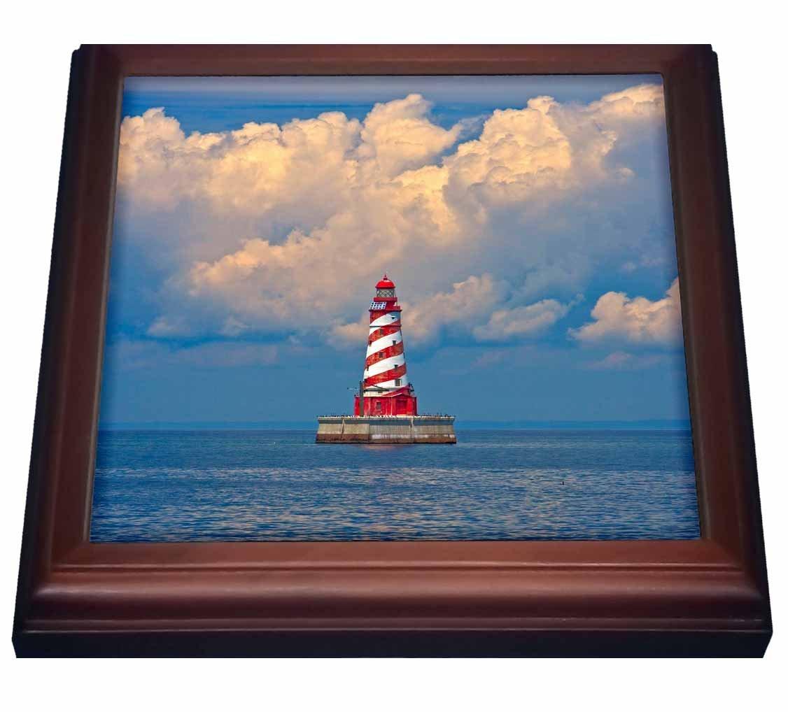 3dRose trv_91200_1 White Shoal Lighthouse, Beaver Island US23 JRE0008 Joe Restuccia III Trivet with Tile, 8 by 8'',