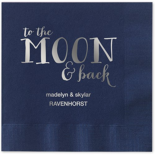 - Moon and Back Personalized Beverage Cocktail Napkins - Canopy Street - 100 Custom Printed Navy Blue Paper Napkins with choice of foil stamp (5857B)