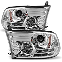 Ram Pickup Truck Chrome Clear DRL Daylight LED Tube Projector Headlights Replacement Left + Right