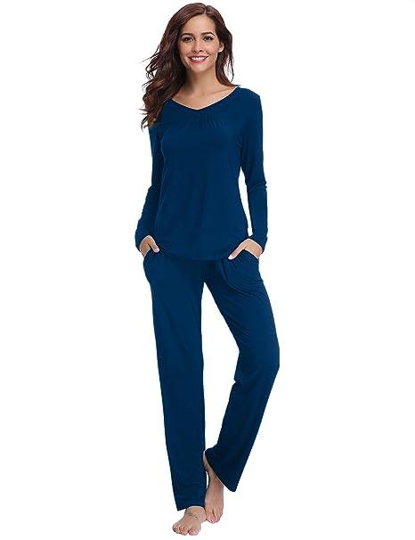 best cheap 52bb4 e8f0d Aibrou Damen Einfarbige Pyjama Set, Zweiteiliger Modal Langarm Schlafanzug