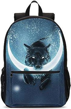 Delerain 3D Wolf School Backpack Lightweight Travel Daypack Shoulder Bag 17 Inch Plus Laptop Bag Book bag for 1-6th Grade Teens Boys Girls