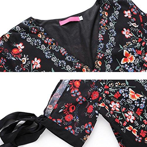 maniche WANG dimensioni irregolare vacanza Sexy S XXL XXL V donna Vestiti chiffon Boemia stampa Abiti da estivi casual cinque scollo a in vestito 6A6r1