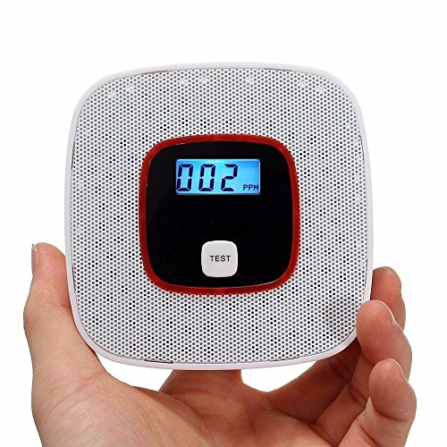 Carbon Monoxide Detector Alarm with Voice Warning , Ceiling Mounted CO Alarm Monitor with Digital Display Battery Operated for Home&Room