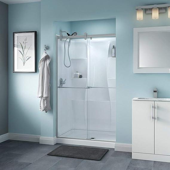 DELTA - Mampara de ducha corredera, contemporánea, con doble hoja semienmarcada.: Amazon.es: Bricolaje y herramientas
