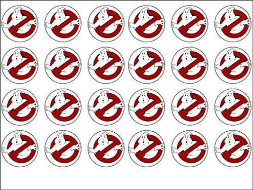 24 Ghostbusters Edible Wafer Paper Cup Cake Toppers by CakeThat]()