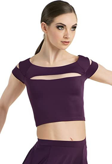 a0159751fa4bfc Balera Crop Top Girls Top For Dance Cap Sleeve With Cutouts and Boatneck Cropped  Top Shirt