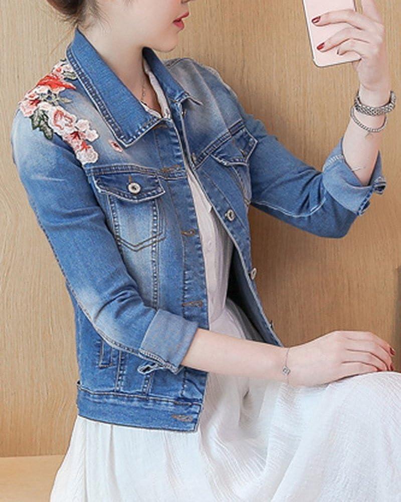 Veste en Jeans Court Floral Brod/é pour Femme