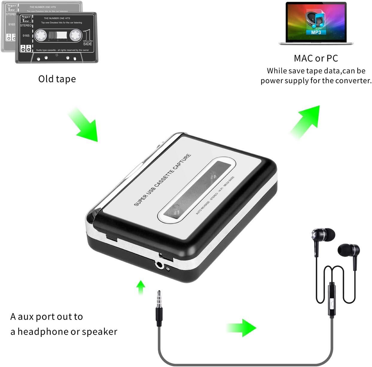 DigitalLife Lettore di cassette portatile retr/ò Walkman Convertitore da cassetta a MP3 tramite PC compatibile con Mac//Win