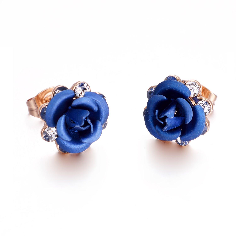 Yoursfs Boucles d'oreilles clous 18k plaqué Or et Cristal forme de Fleur multicolore Ou Coeur pour Femmes ou Filles comme Cadeau Anniversaire Mariage Fête Italina E010R7
