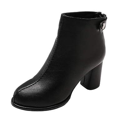 Botines cuña para Mujer Otoño Invierno 2018 Zapatos de tacón Negro de Mujer Zapatos de Trabajo