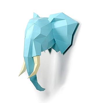 Timorn DIY Pre-Cut Papercraft Assembly Kit 3D Head Wall Decor Elephant Head  Trophy