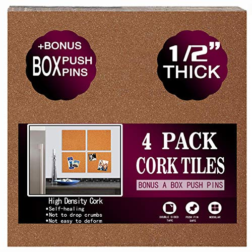 "Cork Board Tiles 12""x12"" - 1/2"" Thick - a Box Bonus Push Pins - Ultra Strong Self Adhesive Backing - 4 Pack Cork Tiles - Bulletin Board - Mini Wall (4pack)"