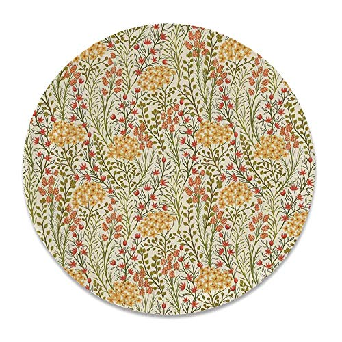 YOLIYANA Flower Decor Round Ceramic Decorative Plate,Leaves Flowers Old Vintage Ivy Design with Plants Nature Theme Art Print for Table Or Wall,7 inch