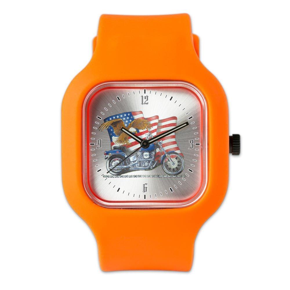 Orange Fashion Sport Watch Motorcycle Eagle and US Flag