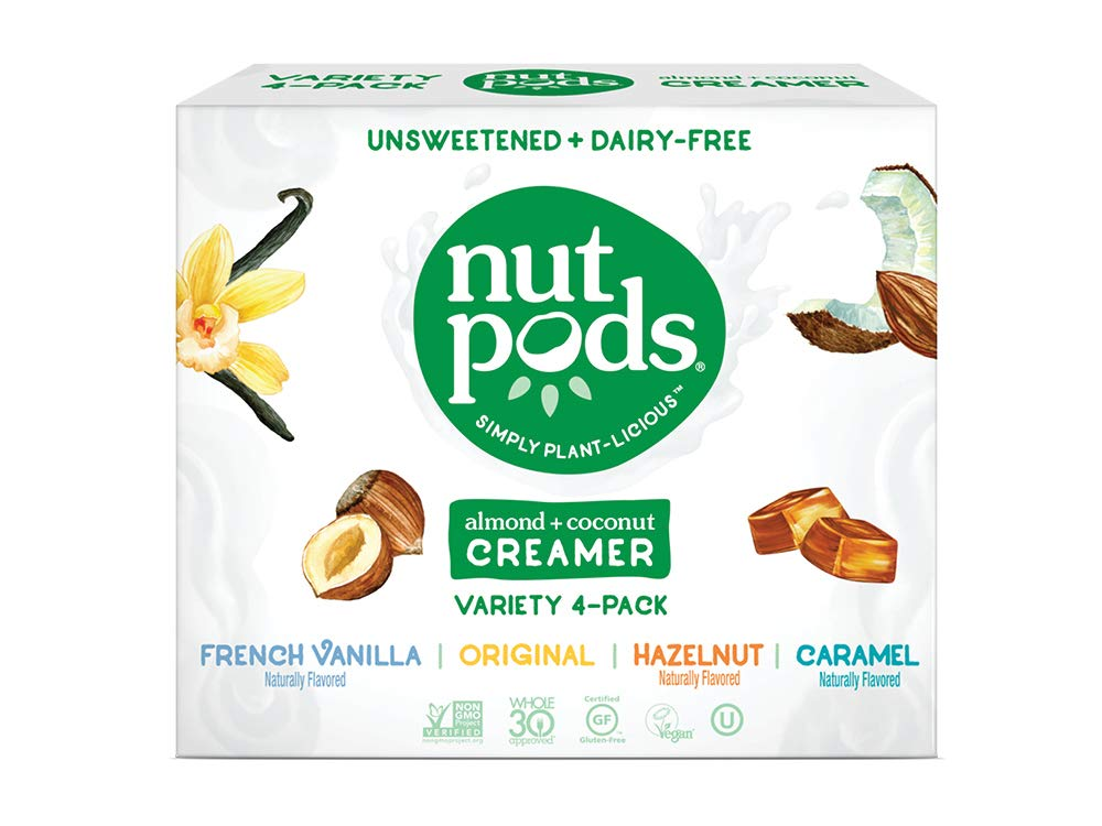 nutpods Variety 4 pack, Original, French Vanilla, Hazelnut and Caramel Unsweetened Dairy-Free Liquid Coffee Creamer Made From Almonds and Coconuts