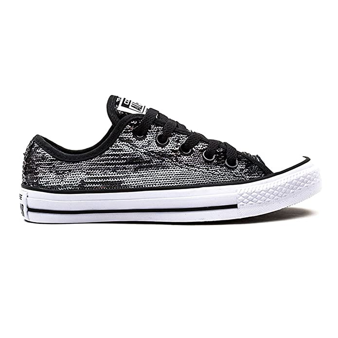 Amazon.com | Converse Womens Chuck Taylor Sequin Ox Black Silver Synthetic  Trainers 9 US | Shoes