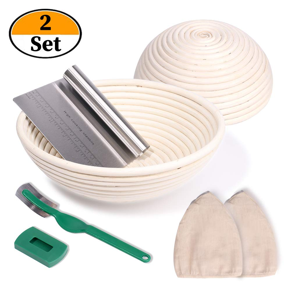 2 Set 9 Inch and 10 Inch Banneton Proofing Baskets, Bread Proofing Basket +Bread Lame +Dough Scraper+ Linen Liner Cloth for Professional & Home Bakers by NZQXJXZ