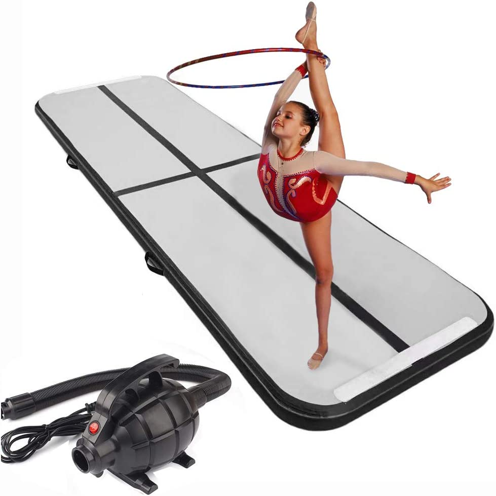 MASPORT 10ft//13ft//16ft//20ft//23ft//26ft Inflatable Gymnastics Airtrack Tumbling Mat Air Track Floor Mats with Electric Air Pump for Home Use//Training//Cheerleading//Beach//Park and Water 10X3.3X0.33 FT