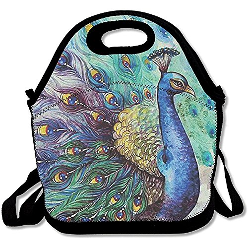 (Starboston Awesome Multicolor Peacock Lunch Bags Lunch Tote Lunch Box Handbag Kids Adults)