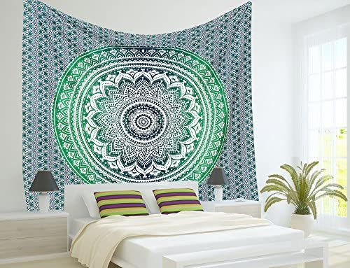 Labhanshi Indian Mandala Tapestry Hippie Hippy Wall Hanging Throw Bedspread Dorm Tapestry Decorative Wall Hanging, Ombre Mandala Tapestries