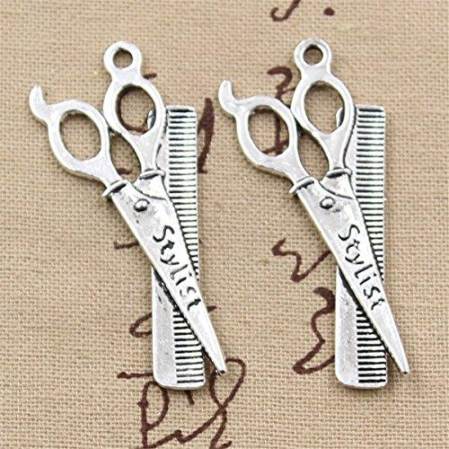 10pcs Charms Barber Scissor Comb Stylist 24x53mm Antique Making Vintage Tibetan Silver Zinc Alloy ()