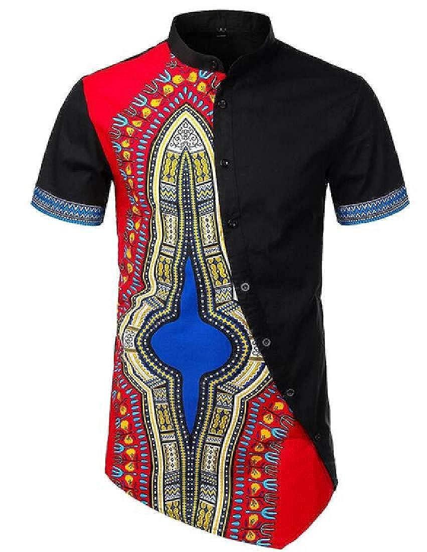BU2H Men Irregular African Print Dashiki Fashion Stand Collar Buttons Shirts