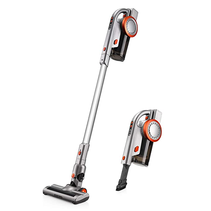 PUPPYOO A9 Cordless Vacuum Cleaner, 17Kpa/200W Power Suction, Pro Brushless Motor, Ultra-Light Cordless Stick Vacuum with LED Brush & Wall-Mount