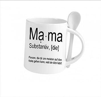 Spruchtasse Funtasse Löffel Weiß Mama Substantiv … \