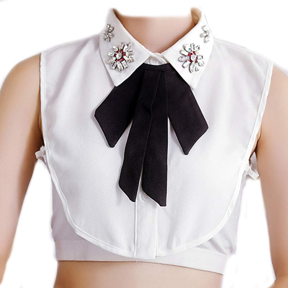 Jinzone Detachable Dickey Collar Bowknot Fake Collar Blouse Half Shirts False Collar for Girls and Women White
