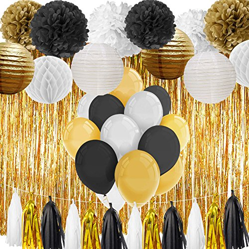 Paxcoo Black and Gold Party Decorations for 18th, 21st, 30th, 40th, 50th, 60th, 75th, 80th (Table Decorations For 18th Birthday Party)
