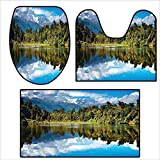 Non Slip Bath Shower Rug Mirror Reflection on Lake by The Forest with Bright Cloudy Sky in Southern Alps Green Blue White.Custom Made Rug Set 19.6''x15.7''-27.5''x23.6''-47.2''x23.6''