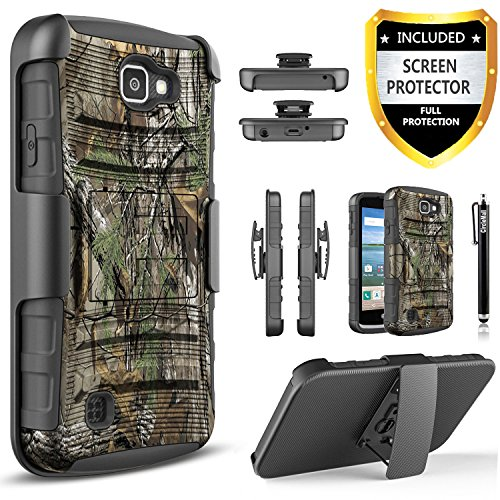 LG Optimus Zone 3/LG Spree/LG K4/LG Rebel LTE Case, [Combo Holster] Case And Built-In Kickstand Bundled with [Premium HD Screen Protector] Hybird Shockproof And Circlemalls Stylus Pen (Camo) Camo Cell Phone Accessories