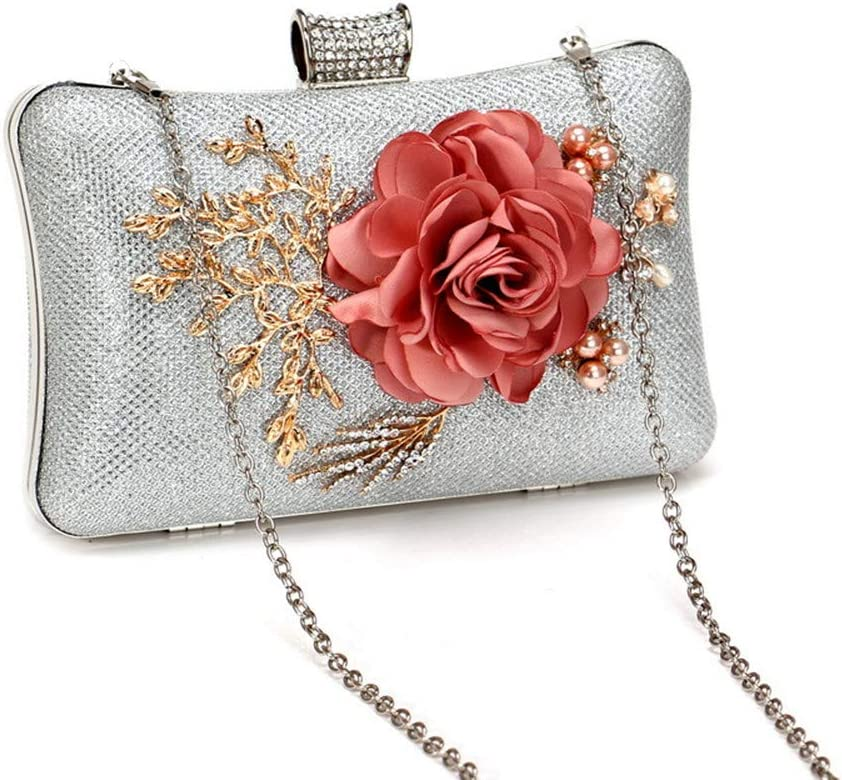 Color : Silver Techecho Bridal Clutch Purse Women Retro Flower Clutch Handbag Chain Strap Shoulder Crossbody Bag Small Purse Wallets for Wedding Prom Banquet Frosted Handbag Party