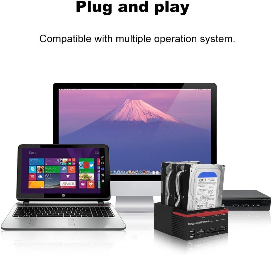 2.5inch//3.5inch Three-Bay USB3.0 SATA//IDE HDD Docking Station Offline Clone HUB Reader Support Windows2000// XP//Vista// Win7//8; Linux//OS. ASHATA External Hard Drive Docking Station Black