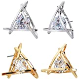 Crunchy Fashion Gold Plated Stylish fancy Party Wear Zircon Crystal Stud Earrings For Women and Girls