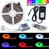 SPARKE LED Strip Lights Waterproof 16.4 Ft (5M) 300leds 60leds/m Flexible Color Changing RGB 12V SMD5050 LED Tape Light Kit with RF Remote and Power Supply for Indoor and Outdoor