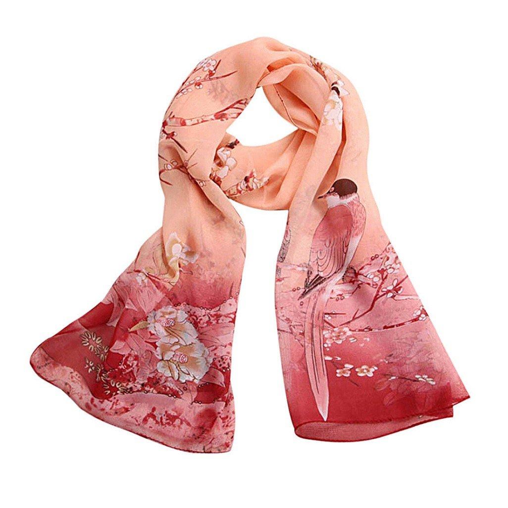 Vovotrade® 2016 Hot Sale!!!Women Flower Printed Silk Chiffon Shawl Wrap Scarf (pink1)