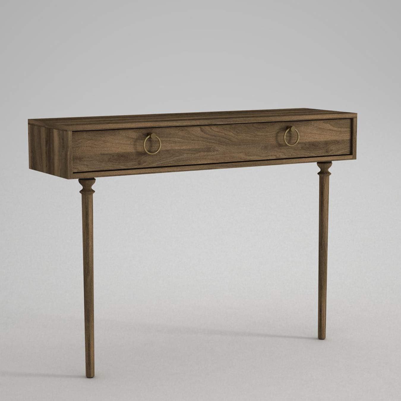 120 x 90 x 35 cm Alphamoebel 4913 Goldy Konsolentisch Ablagetisch Beistelltisch Walnuss mit Massivholz F/ü/ße Holz gro/ße Schublade viel Stauraum