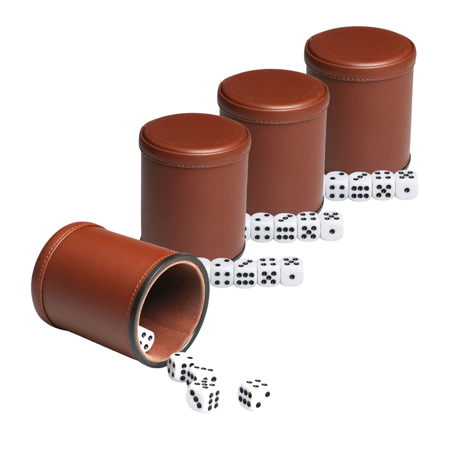 Leather Dice Cup Set Felt Lining Quiet Shaker with 5 Dot Dices for Farkle Yahtzee Games,4 Pack (Brown) by RERIVER