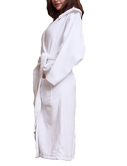 Men Women Unisex Cotton Dressing Gown Soft Terry Towelling Bathrobes With  Hood  Amazon.co.uk  Clothing 9377bcc55